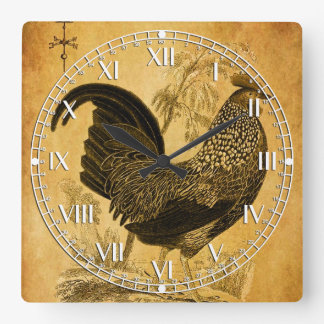 Thanksgiving Rooster Square Wall Clocks