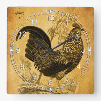 Thanksgiving Rooster Square Wallclock