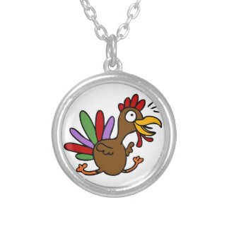 Thanksgiving Running Happy Turkey Silver Plated Necklace