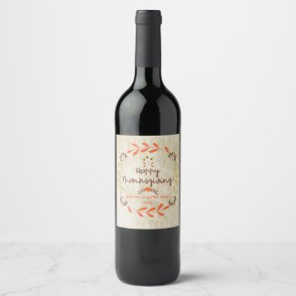 Thanksgiving, Rustic Wreath Wine Label