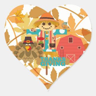 thanksgiving scarecrow heart sticker
