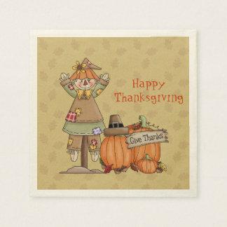 Thanksgiving Scarecrow, Pumpkins Paper Napkin