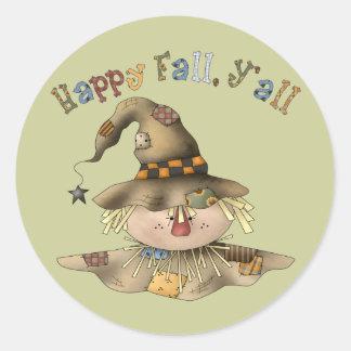Thanksgiving Scarecrow Round Stickers
