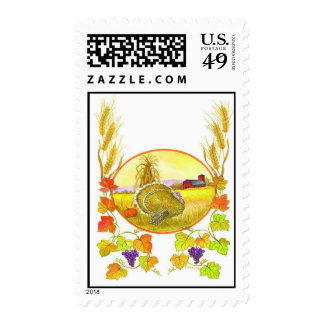 Thanksgiving Scene Postage Stamp