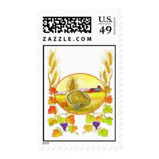 Thanksgiving Scene Postage Stamp