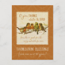 Thanksgiving Scripture Birds -Vintage Reproduction Holiday Postcard