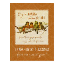 Thanksgiving Scripture Birds -Vintage Reproduction Postcard