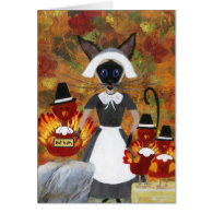Thanksgiving Siamese Cat Greeting Cards