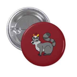 Thanksgiving Silver Raccoon with Indian Headdress Pinback Button