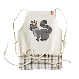 Thanksgiving Silver Raccoon with Indian Headdress Zazzle HEART Apron