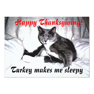 "Thanksgiving Sleepy Cat 5"" X 7"" Invitation Card"