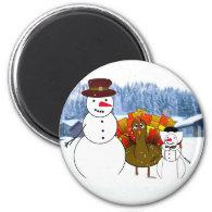 Thanksgiving Snowmen 2 Inch Round Magnet