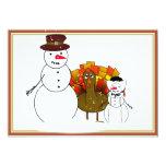 "Thanksgiving Snowmen 5"" X 7"" Invitation Card"