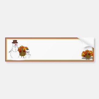 Thanksgiving Snowmen Car Bumper Sticker