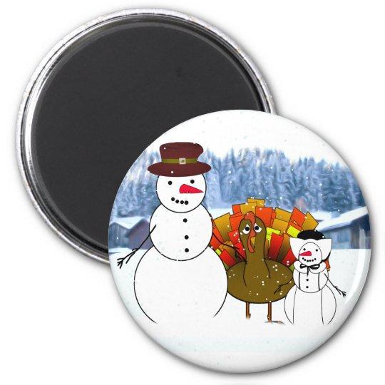 Thanksgiving Snowmen Magnet
