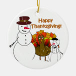 Thanksgiving Snowmen Double-Sided Ceramic Round Christmas Ornament