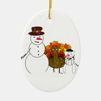 Thanksgiving Snowmen Christmas Tree Ornament