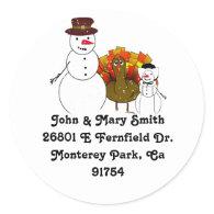 Thanksgiving Snowmen Round Sticker