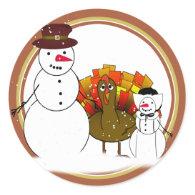 Thanksgiving Snowmen Sticker
