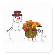 Thanksgiving Snowmen Stickers