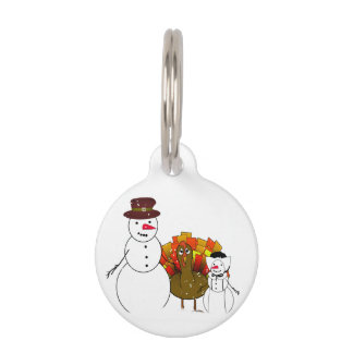 Thanksgiving Snowmen with Worried Turkey Pet Name Tag