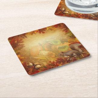 Thanksgiving Squirrel Square Paper Coaster