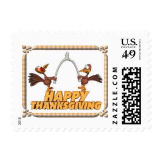 Thanksgiving Stamp- Turkeys and Wishbone Postage