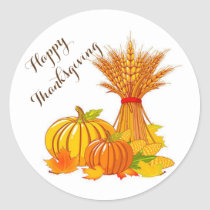 Thanksgiving Stickers/Happy Thanksgiving Classic Round Sticker