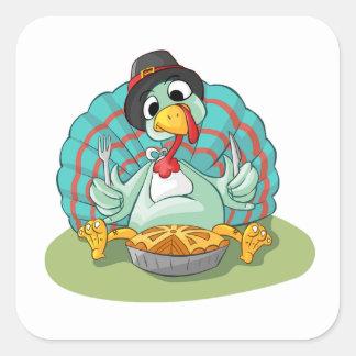 Thanksgiving Stickers/Turkey eating pie Square Sticker