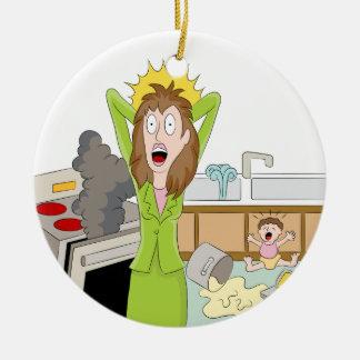 Thanksgiving Stressed Mom Ceramic Ornament