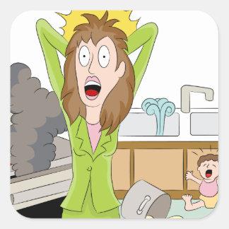 Thanksgiving Stressed Mom Square Sticker