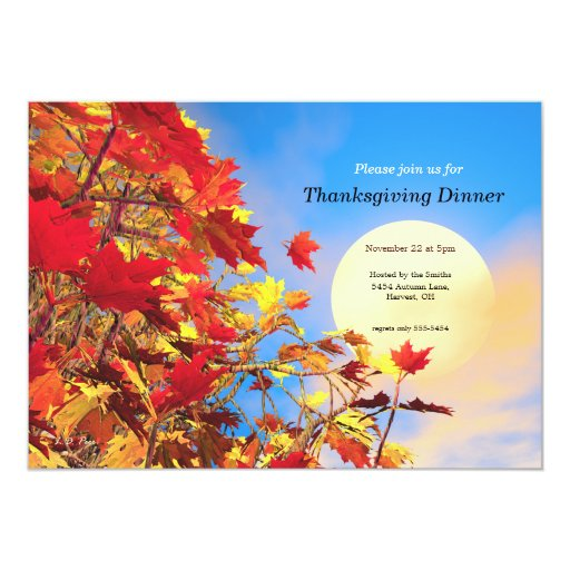 Thanksgiving Sun Tree 5x7 Paper Invitation Card