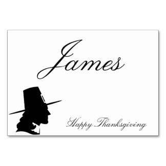 Thanksgiving Table Cards With Pilgrim