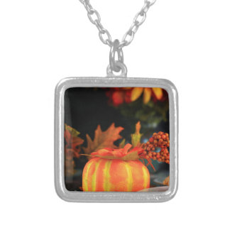 Thanksgiving table silver plated necklace