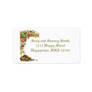 Thanksgiving Text and Harvest Fruit Address Label