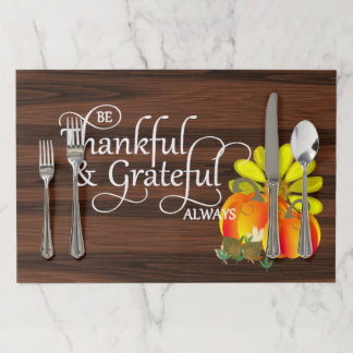Thanksgiving Thankful Celebration Rustic Paper Placemat