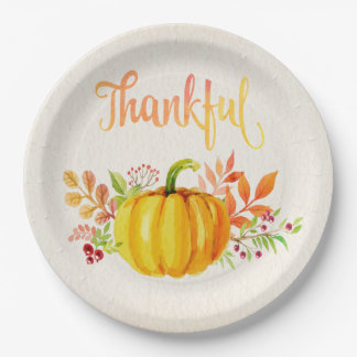 """Thanksgiving """"Thankful"""" Watercolors Both Sizes Paper Plate"""