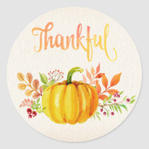 "Thanksgiving ""Thankful"" Watercolors Classic Round Sticker"