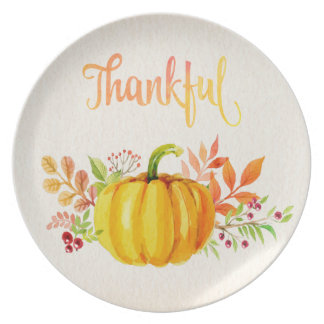 """Thanksgiving """"Thankful"""" Watercolors Dinner Plate"""