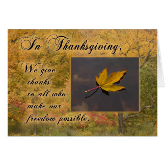 Thanksgiving Thanks to Service-Person Autumn Leaf Card