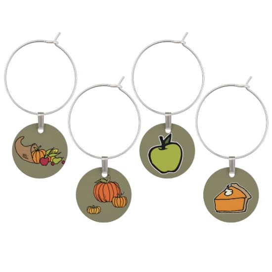 Thanksgiving Themed, Fall Colors Wine Charms