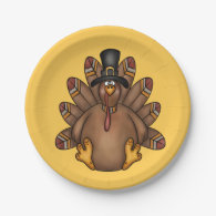 Thanksgiving Tom Turkey Holiday 7 Inch Paper Plate