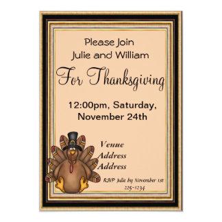 Thanksgiving Tom Turkey Holiday 5x7 Paper Invitation Card