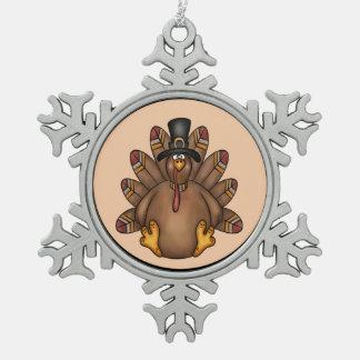 Thanksgiving Tom Turkey Holiday Snowflake Pewter Christmas Ornament