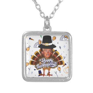 """thanksgiving trump turkey silver plated necklace"
