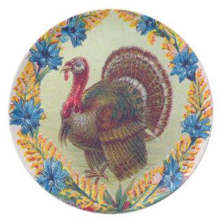 Marvelous Thanksgiving Turkey And Flowers Dinner Plate