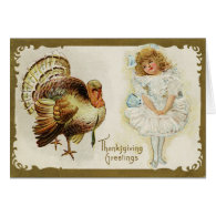 Thanksgiving Turkey and Girl Greeting Card