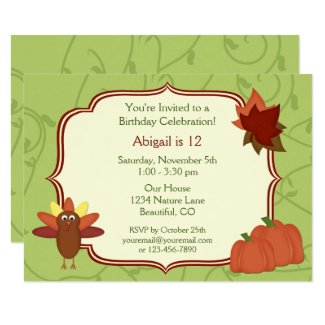 Thanksgiving Turkey and Pumpkins Birthday Invite