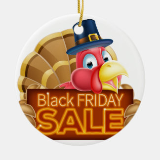 Thanksgiving Turkey Black Friday Sale Sign Ceramic Ornament