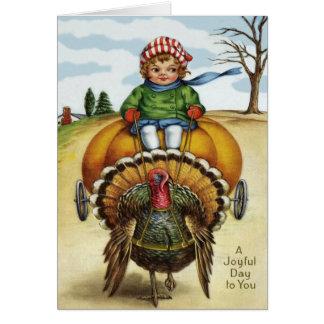 Thanksgiving Turkey Boy Riding Pumpkin Card